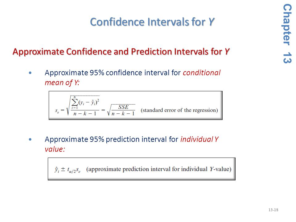 13-18 Approximate 95% confidence interval for conditional mean of Y: Approximate 95% prediction interval for individual Y value: Approximate Confidence and Prediction Intervals for Y Approximate Confidence and Prediction Intervals for Y Chapter 13 Confidence Intervals for Y