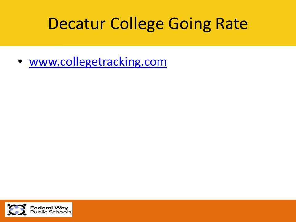 Decatur College Going Rate www.collegetracking.com