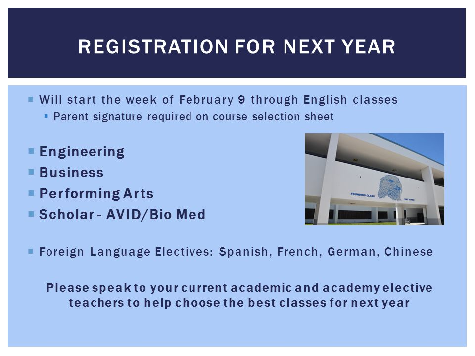  Will start the week of February 9 through English classes  Parent signature required on course selection sheet  Engineering  Business  Performing Arts  Scholar - AVID/Bio Med  Foreign Language Electives: Spanish, French, German, Chinese Please speak to your current academic and academy elective teachers to help choose the best classes for next year REGISTRATION FOR NEXT YEAR