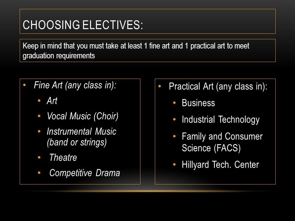 CHOOSING ELECTIVE ALTERNATES ALTERNATE Classes: Write in 1 year long alternate and 4 sem.