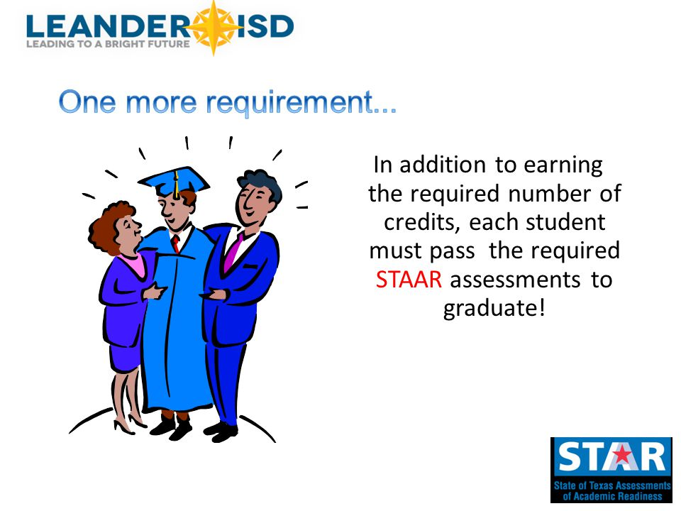 In addition to earning the required number of credits, each student must pass the required STAAR assessments to graduate!
