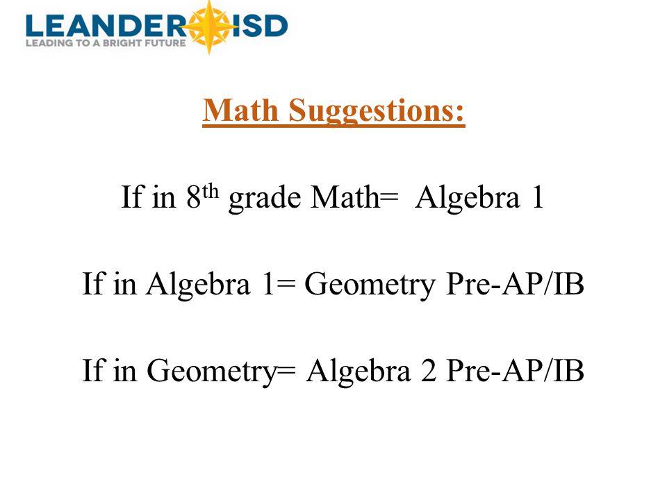Math Suggestions: If in 8 th grade Math= Algebra 1 If in Algebra 1= Geometry Pre-AP/IB If in Geometry= Algebra 2 Pre-AP/IB