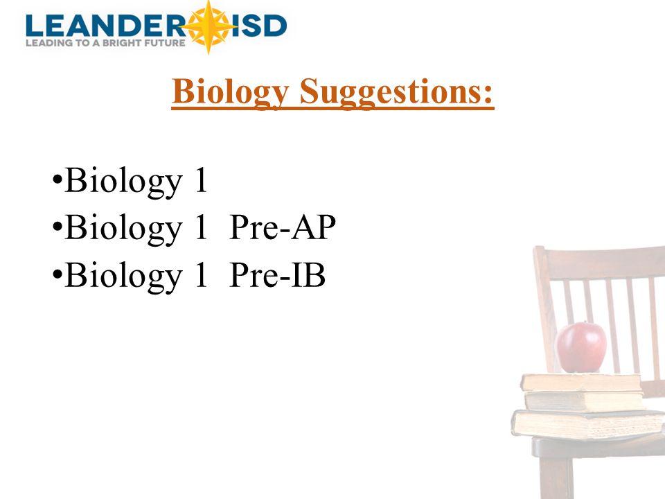 Biology Suggestions: Biology 1 Biology 1 Pre-AP Biology 1 Pre-IB