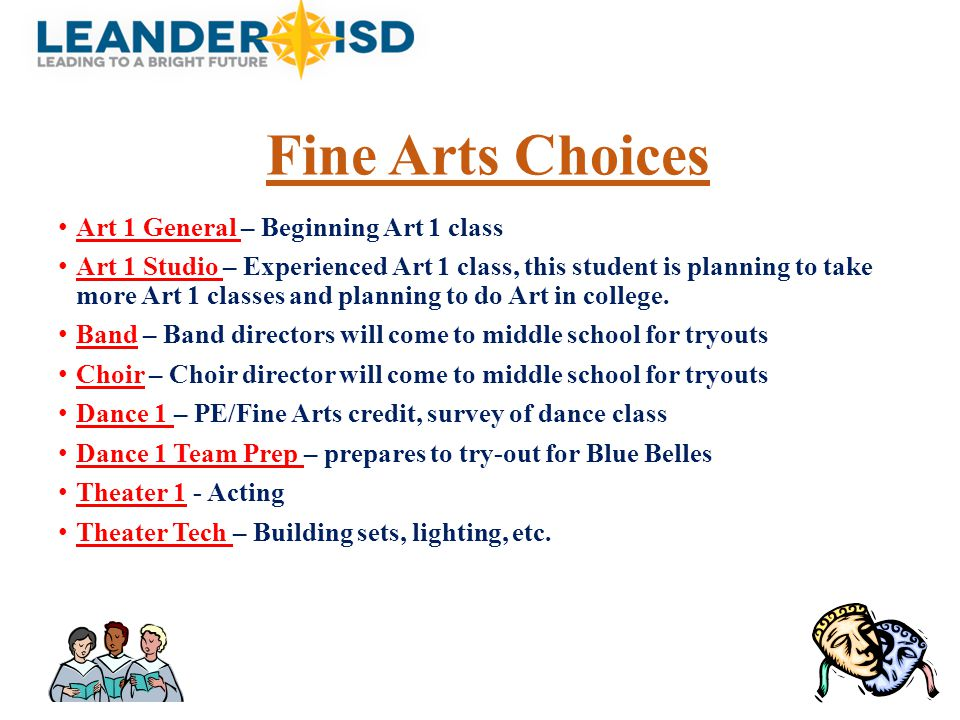 Fine Arts Choices Art 1 General – Beginning Art 1 class Art 1 Studio – Experienced Art 1 class, this student is planning to take more Art 1 classes an