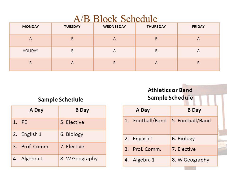 A/B Block Schedule MONDAYTUESDAYWEDNESDAYTHURSDAYFRIDAY ABABA HOLIDAYBABA BABAB A DayB Day 1.PE5. Elective 2. English 16. Biology 3. Prof. Comm.7. Ele