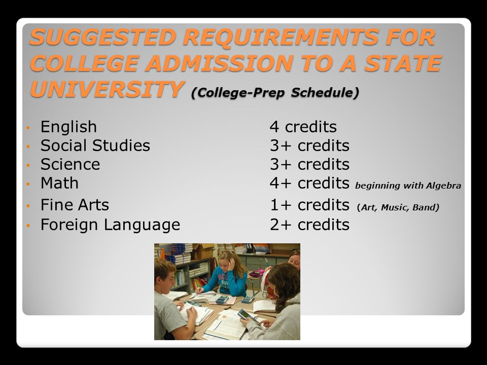 SUGGESTED REQUIREMENTS FOR COLLEGE ADMISSION TO A STATE UNIVERSITY (College-Prep Schedule) English4 credits Social Studies3+ credits Science3+ credits Math4+ credits beginning with Algebra Fine Arts1+ credits (Art, Music, Band) Foreign Language2+ credits