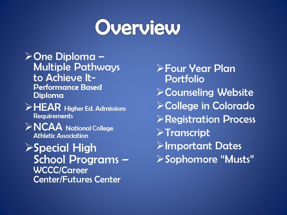  One Diploma – Multiple Pathways to Achieve It- Performance Based Diploma  HEAR Higher Ed. Admissions Requirements  NCAA National College Athletic