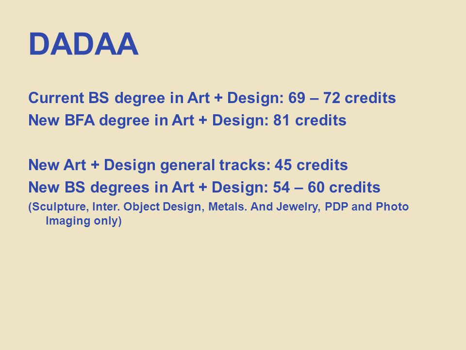 DADAA Current BS degree in Art + Design: 69 – 72 credits New BFA degree in Art + Design: 81 credits New Art + Design general tracks: 45 credits New BS degrees in Art + Design: 54 – 60 credits (Sculpture, Inter.
