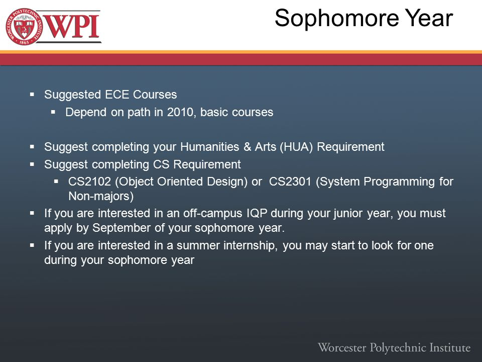Sophomore Year  Suggested ECE Courses  Depend on path in 2010, basic courses  Suggest completing your Humanities & Arts (HUA) Requirement  Suggest completing CS Requirement  CS2102 (Object Oriented Design) or CS2301 (System Programming for Non-majors)  If you are interested in an off-campus IQP during your junior year, you must apply by September of your sophomore year.