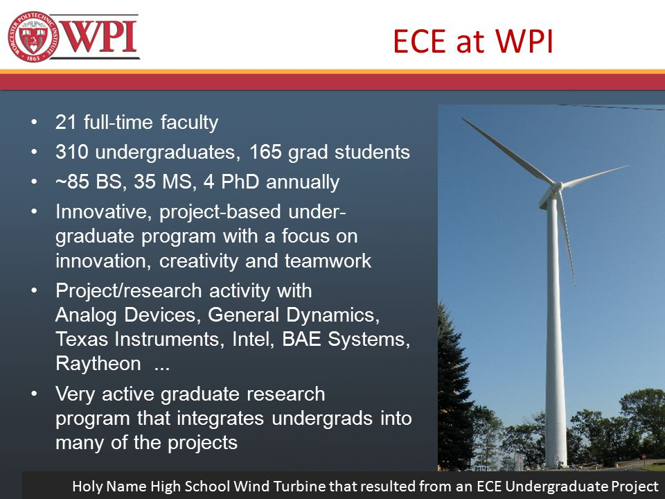 21 full-time faculty 310 undergraduates, 165 grad students ~85 BS, 35 MS, 4 PhD annually Innovative, project-based under- graduate program with a focus on innovation, creativity and teamwork Project/research activity with Analog Devices, General Dynamics, Texas Instruments, Intel, BAE Systems, Raytheon...