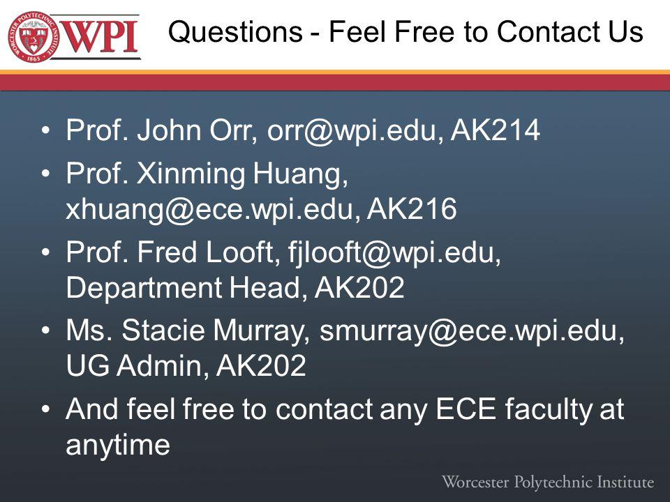 Questions - Feel Free to Contact Us Prof. John Orr, orr@wpi.edu, AK214 Prof. Xinming Huang, xhuang@ece.wpi.edu, AK216 Prof. Fred Looft, fjlooft@wpi.ed