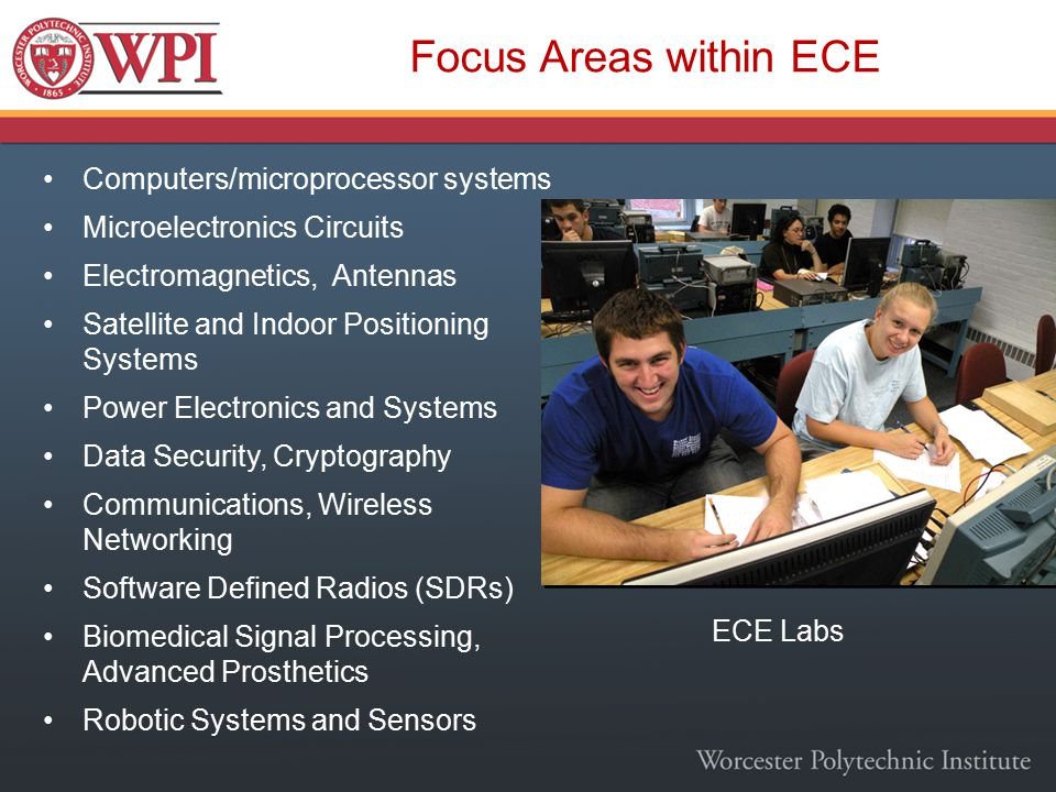 Focus Areas within ECE Computers/microprocessor systems Microelectronics Circuits Electromagnetics, Antennas Satellite and Indoor Positioning Systems Power Electronics and Systems Data Security, Cryptography Communications, Wireless Networking Software Defined Radios (SDRs) Biomedical Signal Processing, Advanced Prosthetics Robotic Systems and Sensors ECE Labs