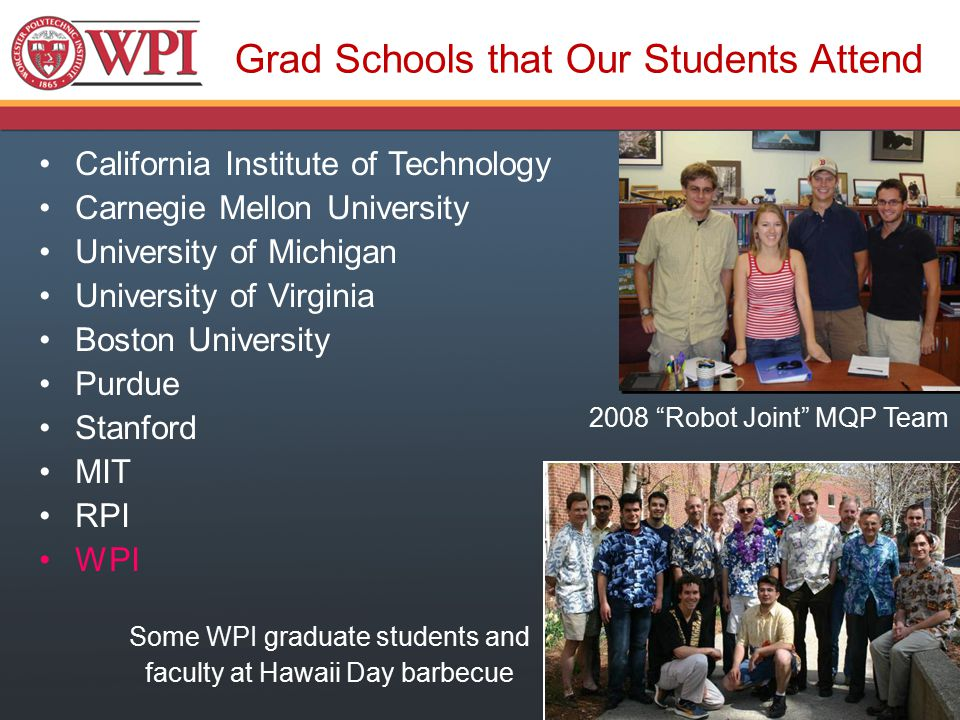Grad Schools that Our Students Attend California Institute of Technology Carnegie Mellon University University of Michigan University of Virginia Boston University Purdue Stanford MIT RPI WPI 2008 Robot Joint MQP Team Some WPI graduate students and faculty at Hawaii Day barbecue