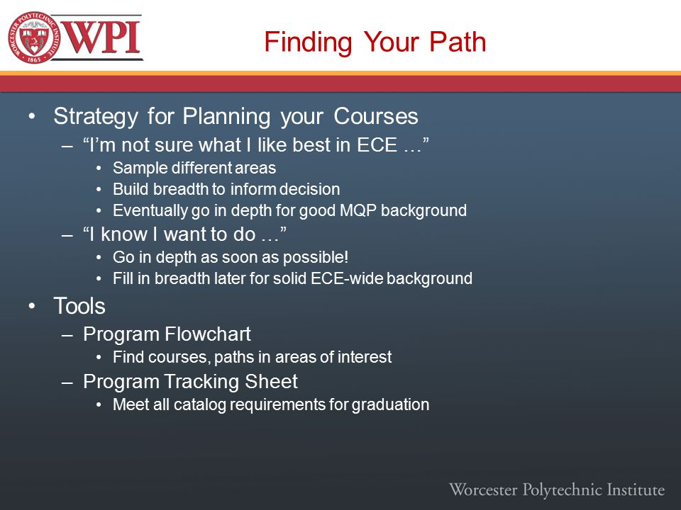 Finding Your Path Strategy for Planning your Courses – I'm not sure what I like best in ECE … Sample different areas Build breadth to inform decision Eventually go in depth for good MQP background – I know I want to do … Go in depth as soon as possible.