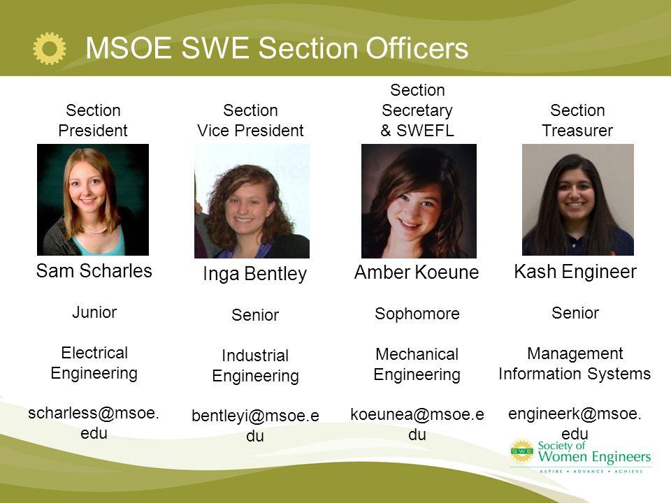 MSOE SWE Section Officers Section President Section Vice President Section Secretary & SWEFL Section Treasurer Sam Scharles Junior Electrical Engineering scharless@msoe.