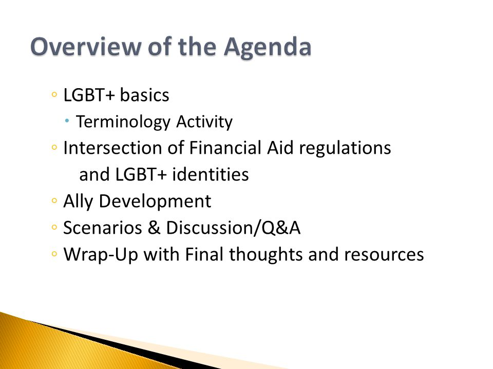 ◦ LGBT+ basics  Terminology Activity ◦ Intersection of Financial Aid regulations and LGBT+ identities ◦ Ally Development ◦ Scenarios & Discussion/Q&A ◦ Wrap-Up with Final thoughts and resources