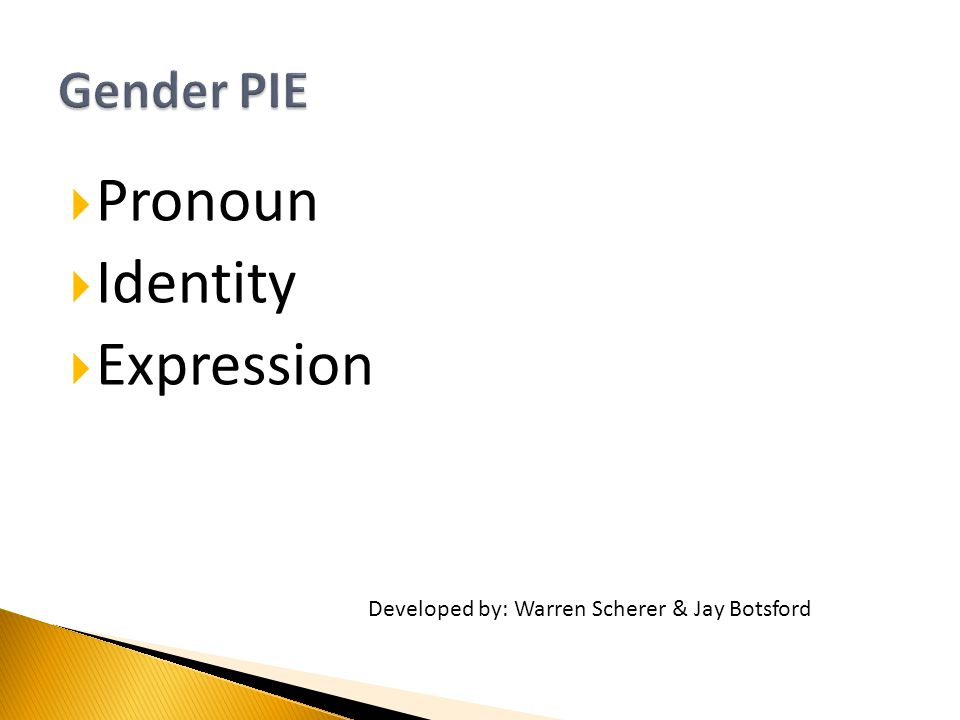  Pronoun  Identity  Expression Developed by: Warren Scherer & Jay Botsford