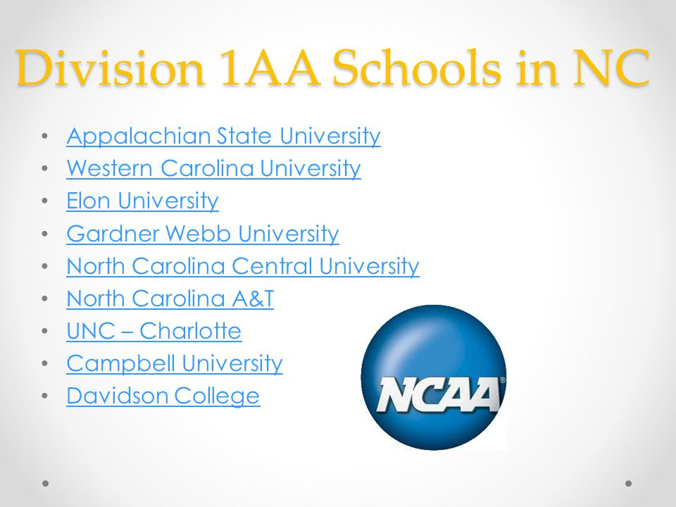 Division 1AA Schools in NC Appalachian State University Western Carolina University Elon University Gardner Webb University North Carolina Central University North Carolina A&T UNC – Charlotte Campbell University Davidson College
