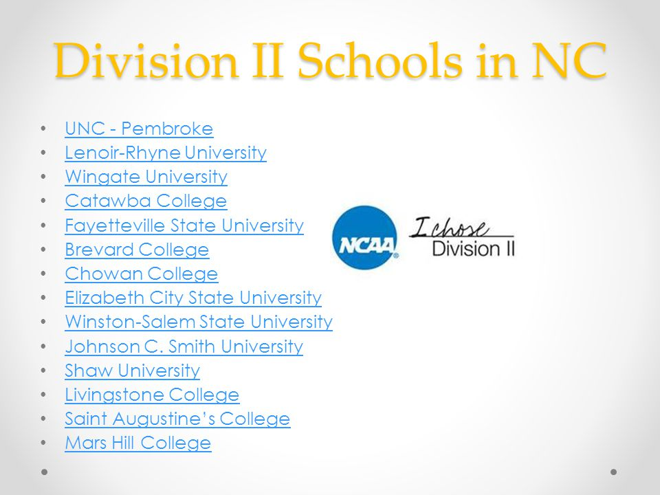 Division II Schools in NC UNC - Pembroke Lenoir-Rhyne University Wingate University Catawba College Fayetteville State University Brevard College Chow