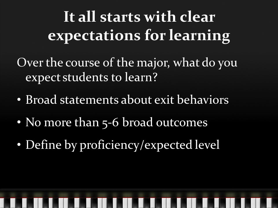 It all starts with clear expectations for learning Over the course of the major, what do you expect students to learn.
