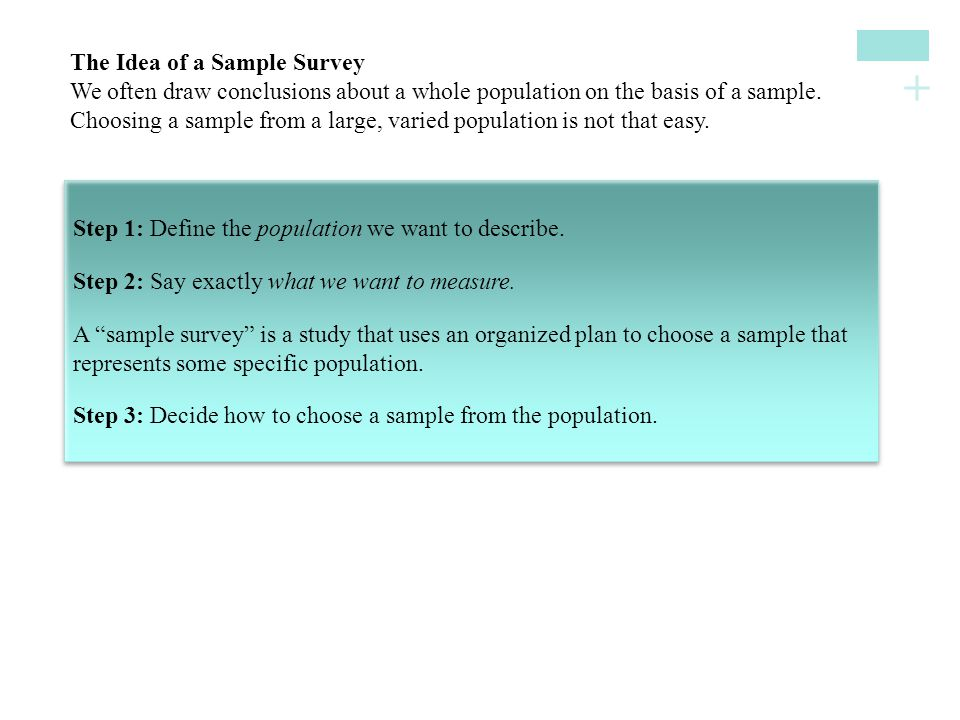 + The Idea of a Sample SurveyWe often draw conclusions about a whole population on the basis of a sample.Choosing a sample from a large, varied popula