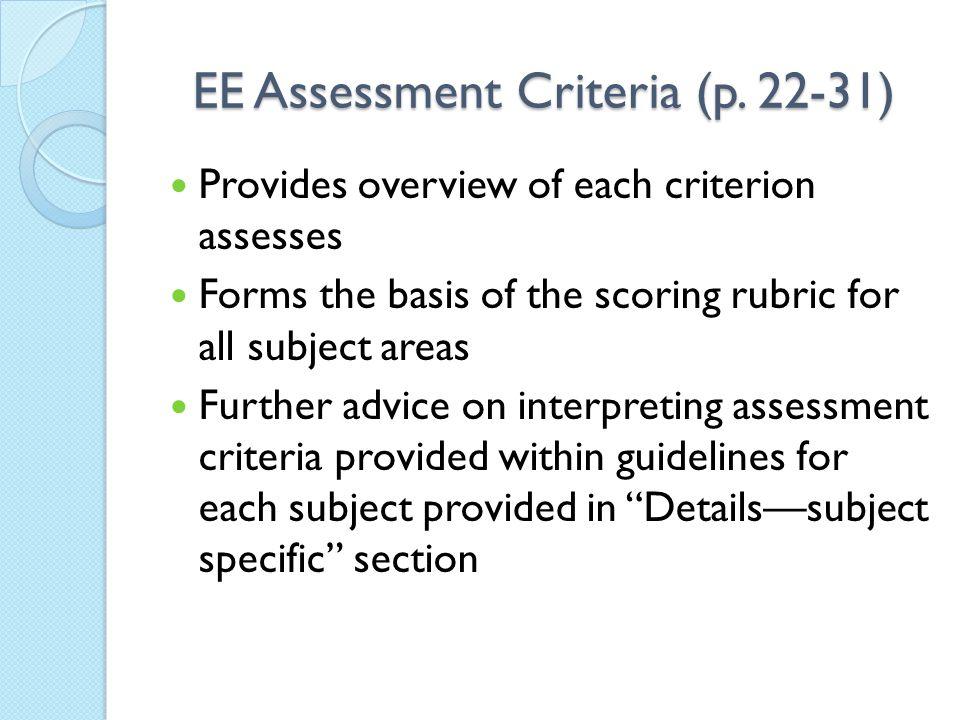 EE Assessment Criteria (p.