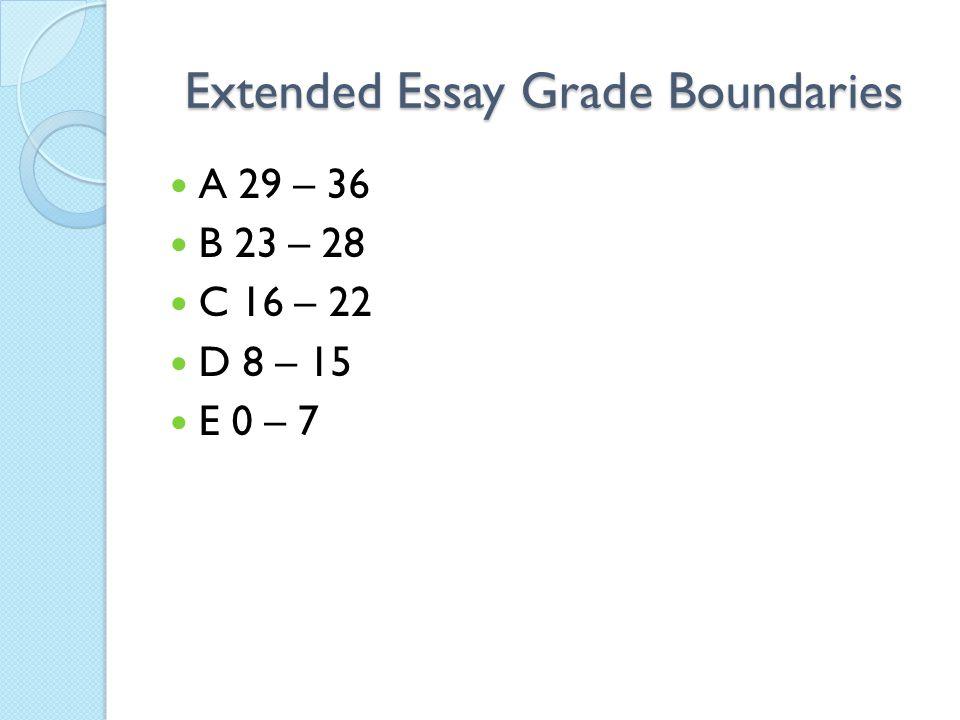 Extended Essay Grade Boundaries A 29 – 36 B 23 – 28 C 16 – 22 D 8 – 15 E 0 – 7