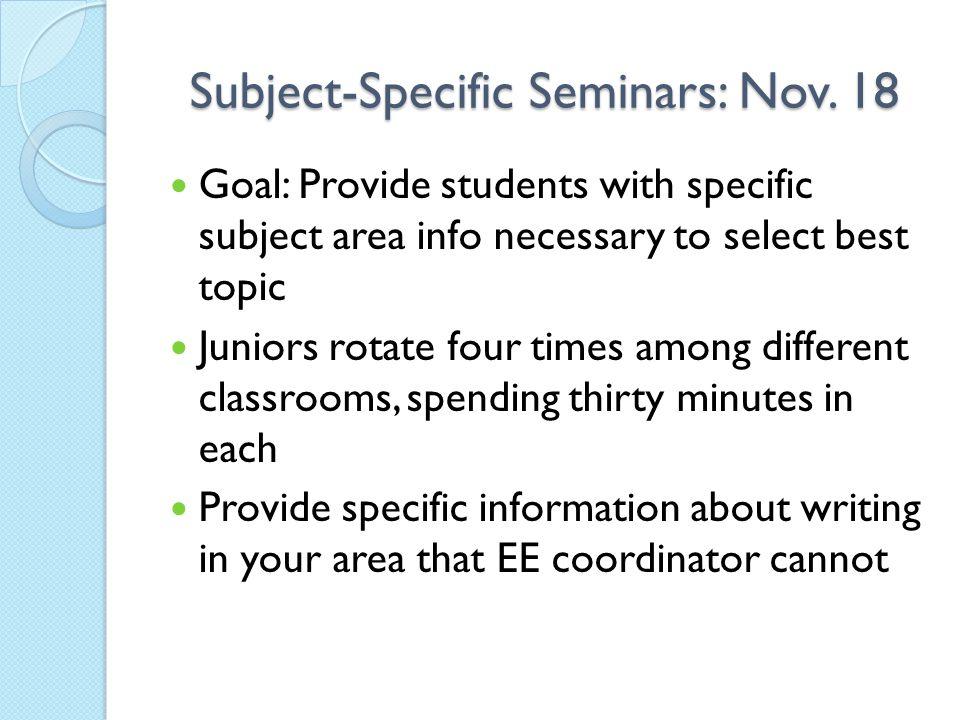 Subject-Specific Seminars: Nov.