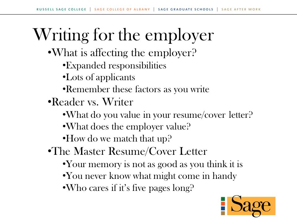 Writing for the employer What is affecting the employer.
