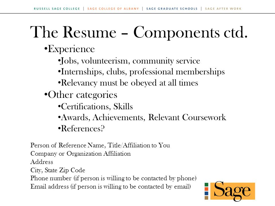 The Resume – Components ctd.