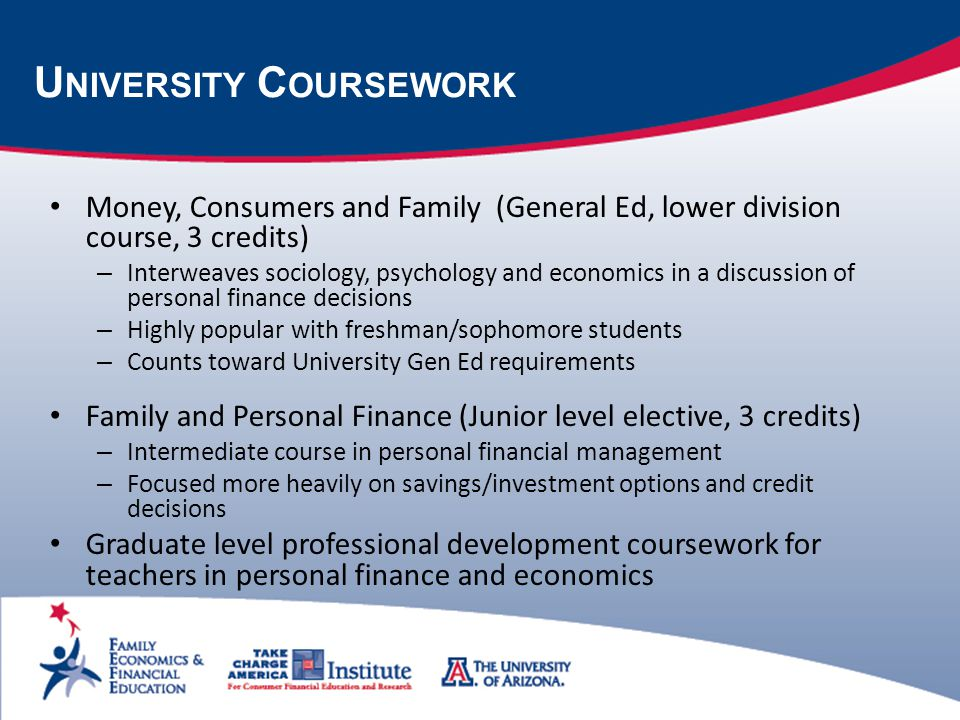 U NIVERSITY C OURSEWORK Money, Consumers and Family (General Ed, lower division course, 3 credits) – Interweaves sociology, psychology and economics in a discussion of personal finance decisions – Highly popular with freshman/sophomore students – Counts toward University Gen Ed requirements Family and Personal Finance (Junior level elective, 3 credits) – Intermediate course in personal financial management – Focused more heavily on savings/investment options and credit decisions Graduate level professional development coursework for teachers in personal finance and economics