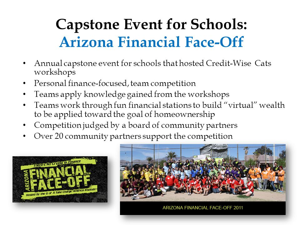 Annual capstone event for schools that hosted Credit-Wise Cats workshops Personal finance-focused, team competition Teams apply knowledge gained from the workshops Teams work through fun financial stations to build virtual wealth to be applied toward the goal of homeownership Competition judged by a board of community partners Over 20 community partners support the competition Capstone Event for Schools: Arizona Financial Face-Off