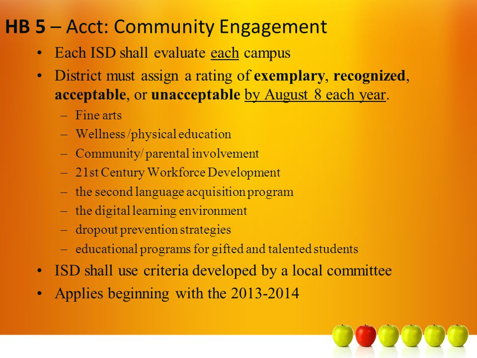 HB 5 – Acct: Community Engagement Each ISD shall evaluate each campus District must assign a rating of exemplary, recognized, acceptable, or unacceptable by August 8 each year.