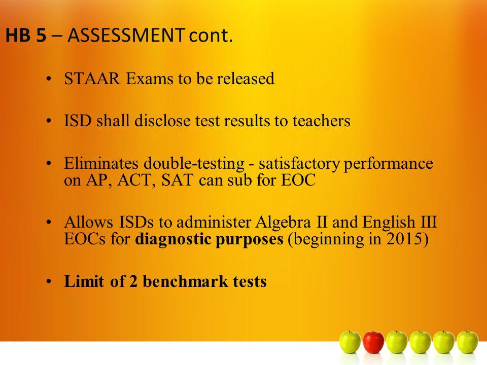 HB 5 – Accelerated Instruction (A.I.) Students who fail EOC = A.I.