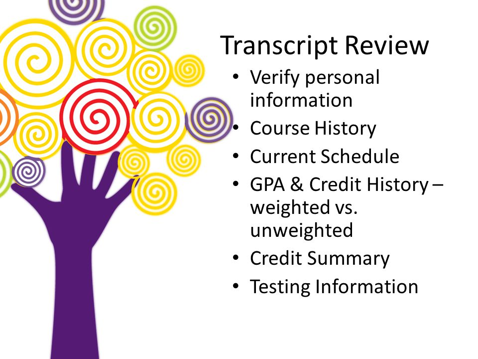 Transcript Review Verify personal information Course History Current Schedule GPA & Credit History – weighted vs.