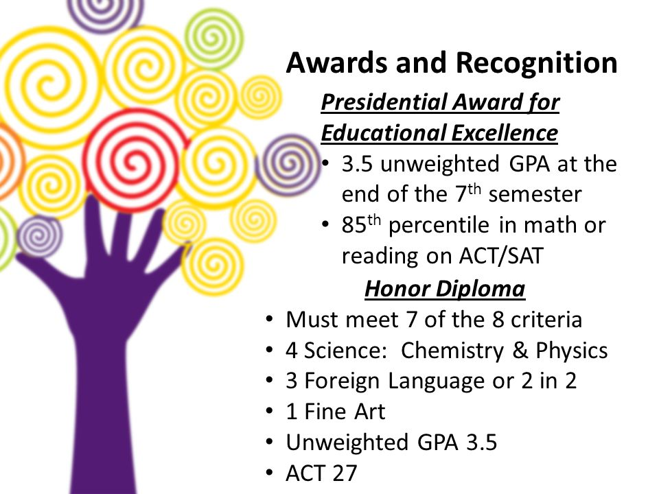 Awards and Recognition Presidential Award for Educational Excellence 3.5 unweighted GPA at the end of the 7 th semester 85 th percentile in math or re