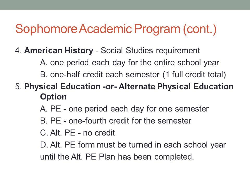 Sophomore Academic Program (cont.) 4. American History - Social Studies requirement A.