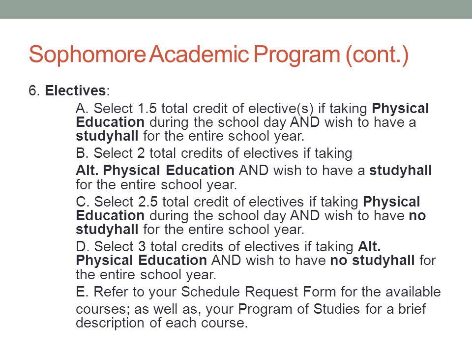 Sophomore Academic Program (cont.) 6.Electives: A.