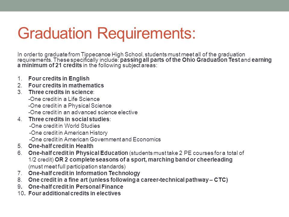 Graduation Requirements: In order to graduate from Tippecanoe High School, students must meet all of the graduation requirements.