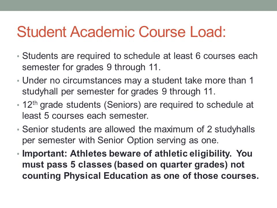 Student Academic Course Load: Students are required to schedule at least 6 courses each semester for grades 9 through 11. Under no circumstances may a