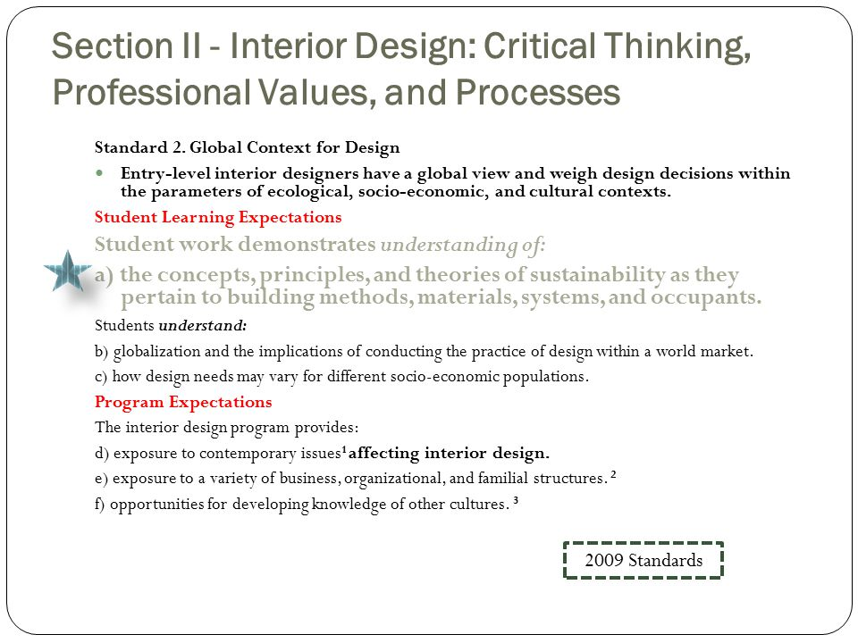 Section II - Interior Design: Critical Thinking, Professional Values, and Processes Standard 2.