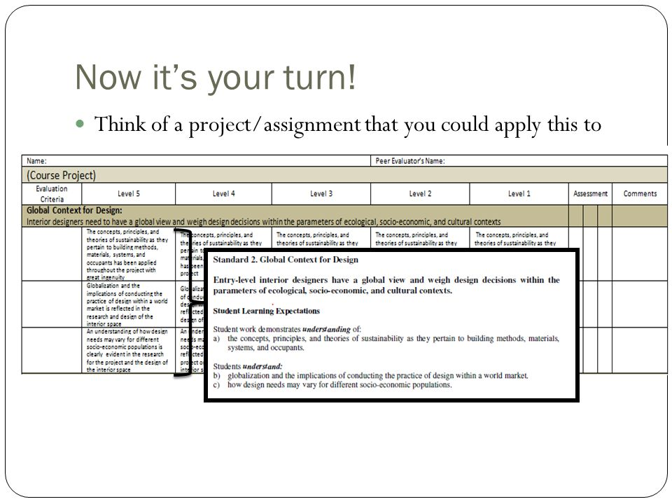 Now it's your turn! Think of a project/assignment that you could apply this to