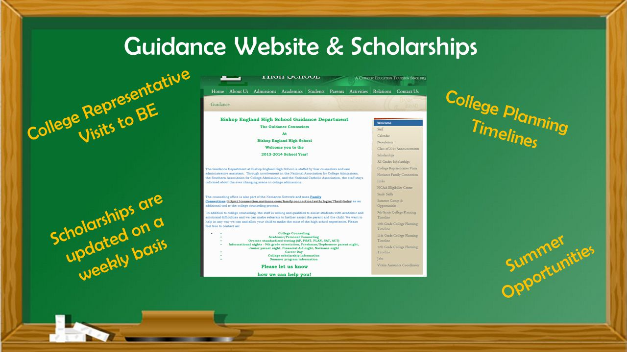 Guidance Website & Scholarships Scholarships are updated on a weekly basis Summer Opportunitie s College Planning Timelines College Representative Visits to BE