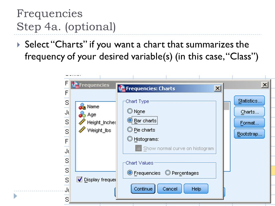 "Frequencies Step 4a. (optional)  Select ""Charts"" if you want a chart that summarizes the frequency of your desired variable(s) (in this case, ""Class"""