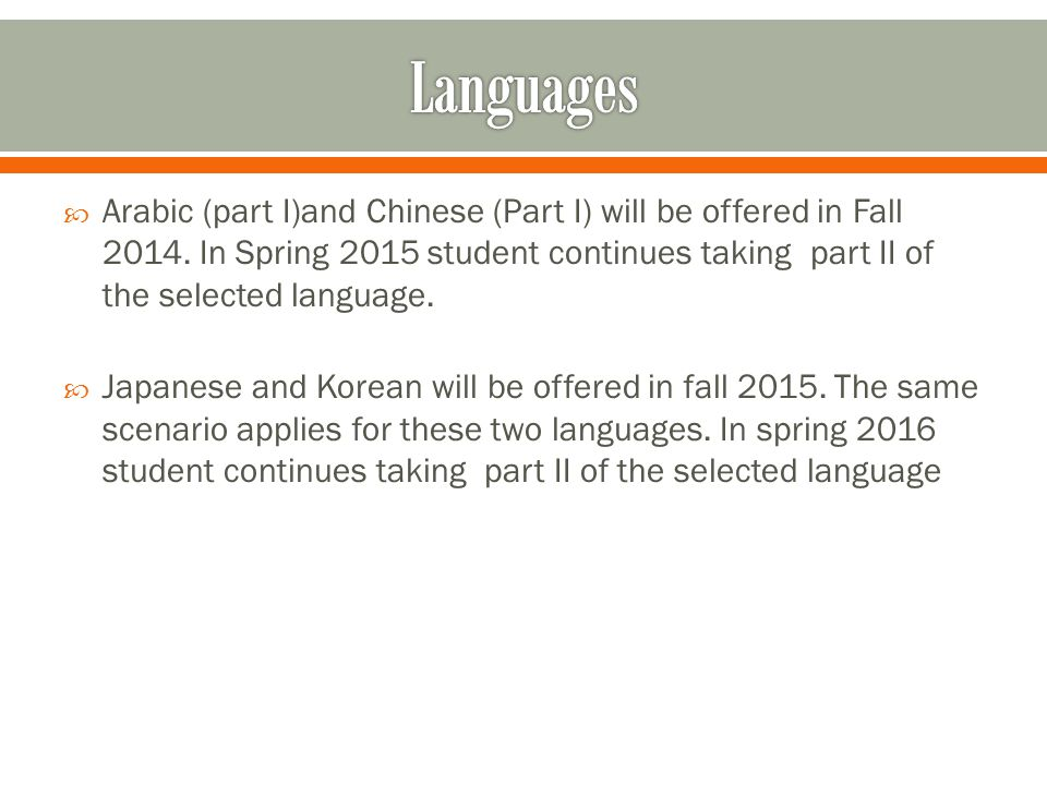  Arabic (part I)and Chinese (Part I) will be offered in Fall 2014.