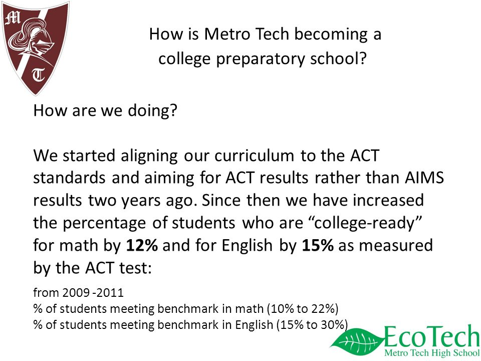 How is Metro Tech becoming a college preparatory school.