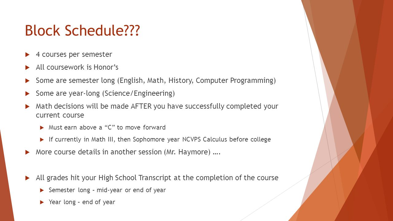 Block Schedule???  4 courses per semester  All coursework is Honor's  Some are semester long (English, Math, History, Computer Programming)  Some