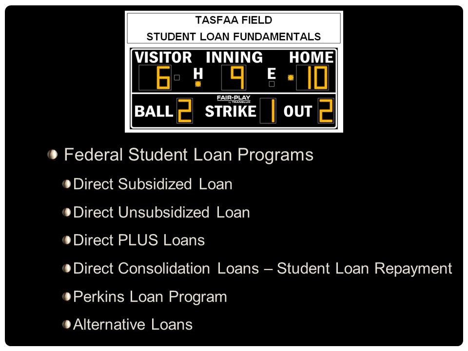 Federal Student Loan Programs Direct Subsidized Loan Direct Unsubsidized Loan Direct PLUS Loans Direct Consolidation Loans – Student Loan Repayment Perkins Loan Program Alternative Loans