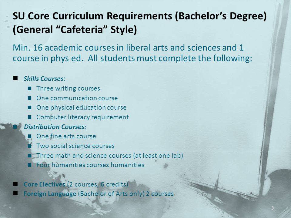 Min.16 academic courses in liberal arts and sciences and 1 course in phys ed.