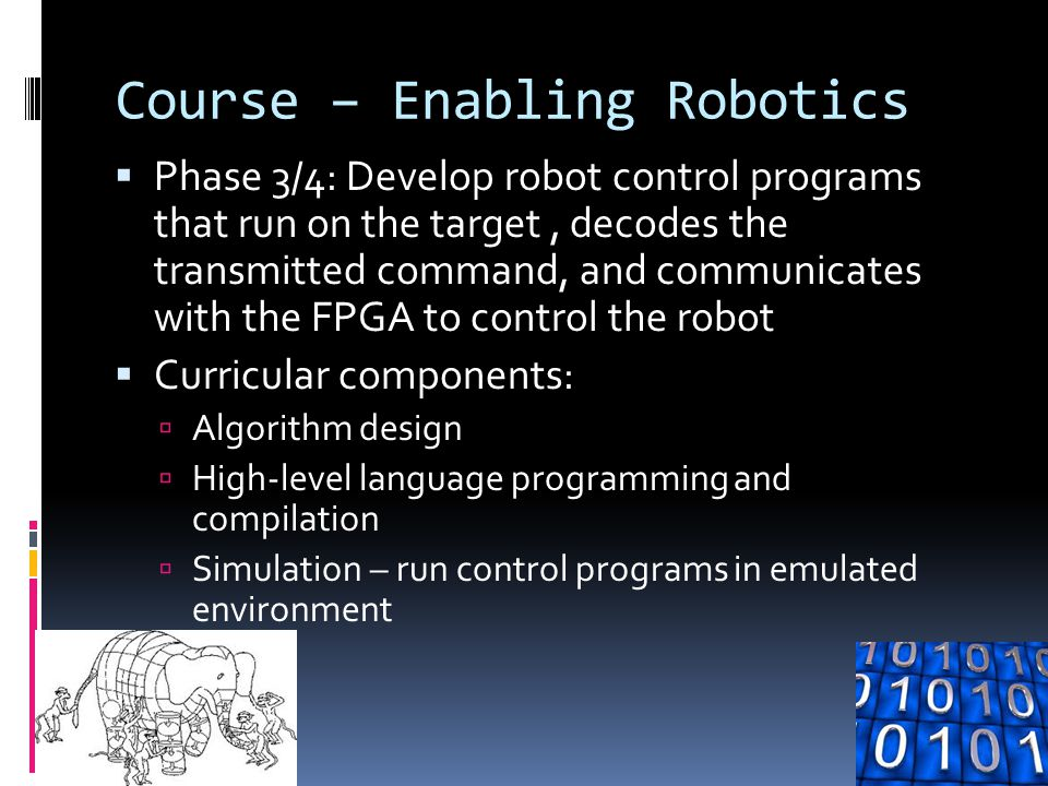 Course – Enabling Robotics  Phase 3/4: Develop robot control programs that run on the target, decodes the transmitted command, and communicates with